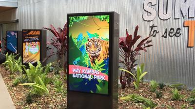 Digital billboards designed by Art of multimedia at the exhibits entrance