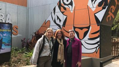 Belinda, Beata and Louise at the Tiger Trek entrance