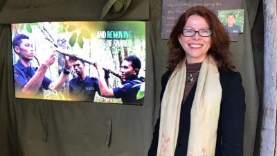 Beata at the Way Kambas video screen